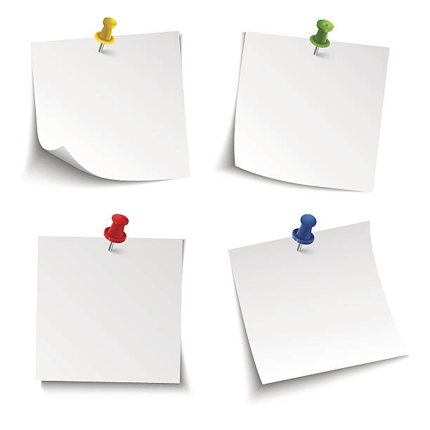 Note paper with push colored pin Note paper with push colored pin vector eps 10 annotation stock illustrations