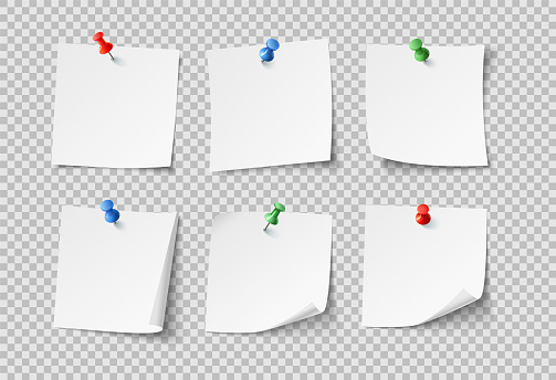 Note papers. White blank sticky notes with color pins. Nobody paper vector set isolated