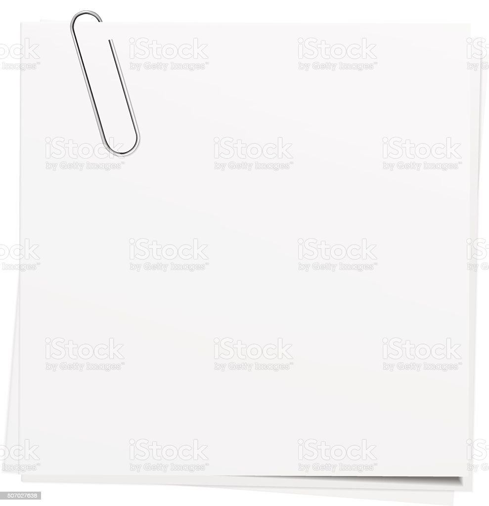 Note papers with paper clips. vector art illustration