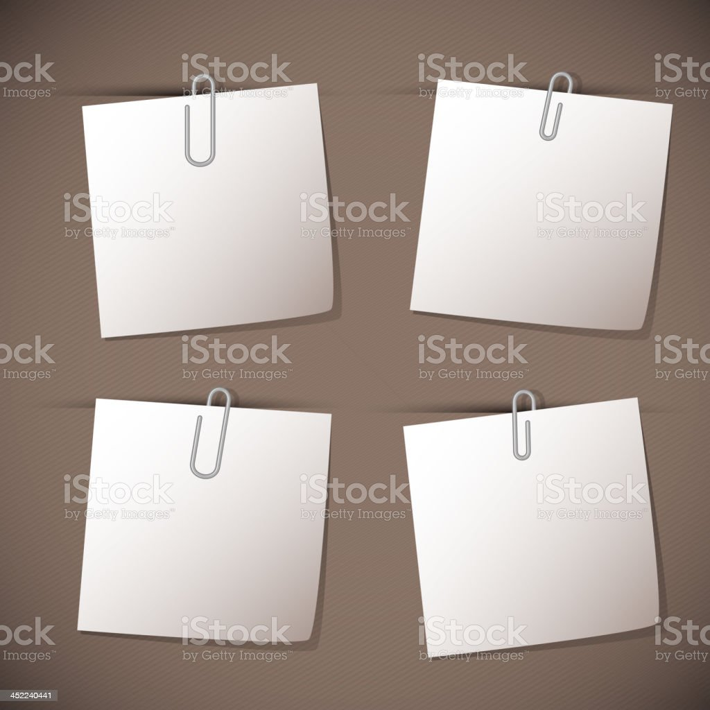 Note papers with paperclip on brown background royalty-free stock vector art