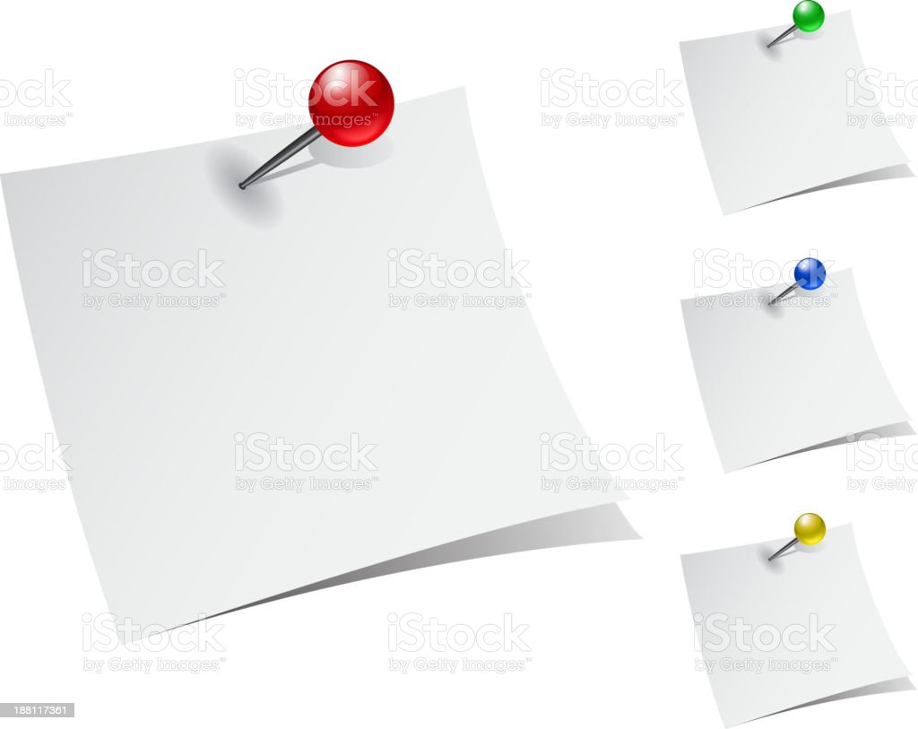 note papers with push pins royalty-free note papers with push pins stock vector art & more images of adhesive note