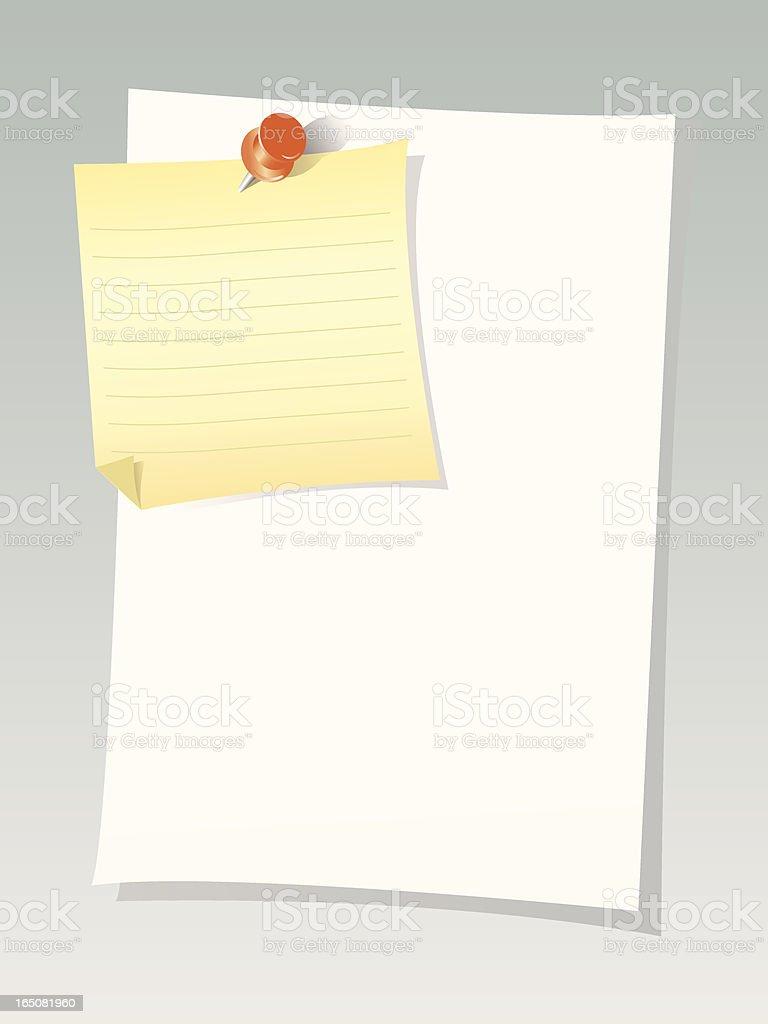 Note sheet & push pin royalty-free stock vector art