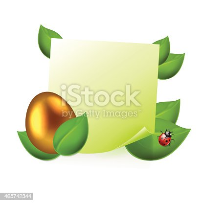 Note with golden easter egg in green leaves. EPS10 vector.