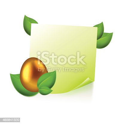 Note with golden easter egg in green leaves isolated on white. EPS10 vector.