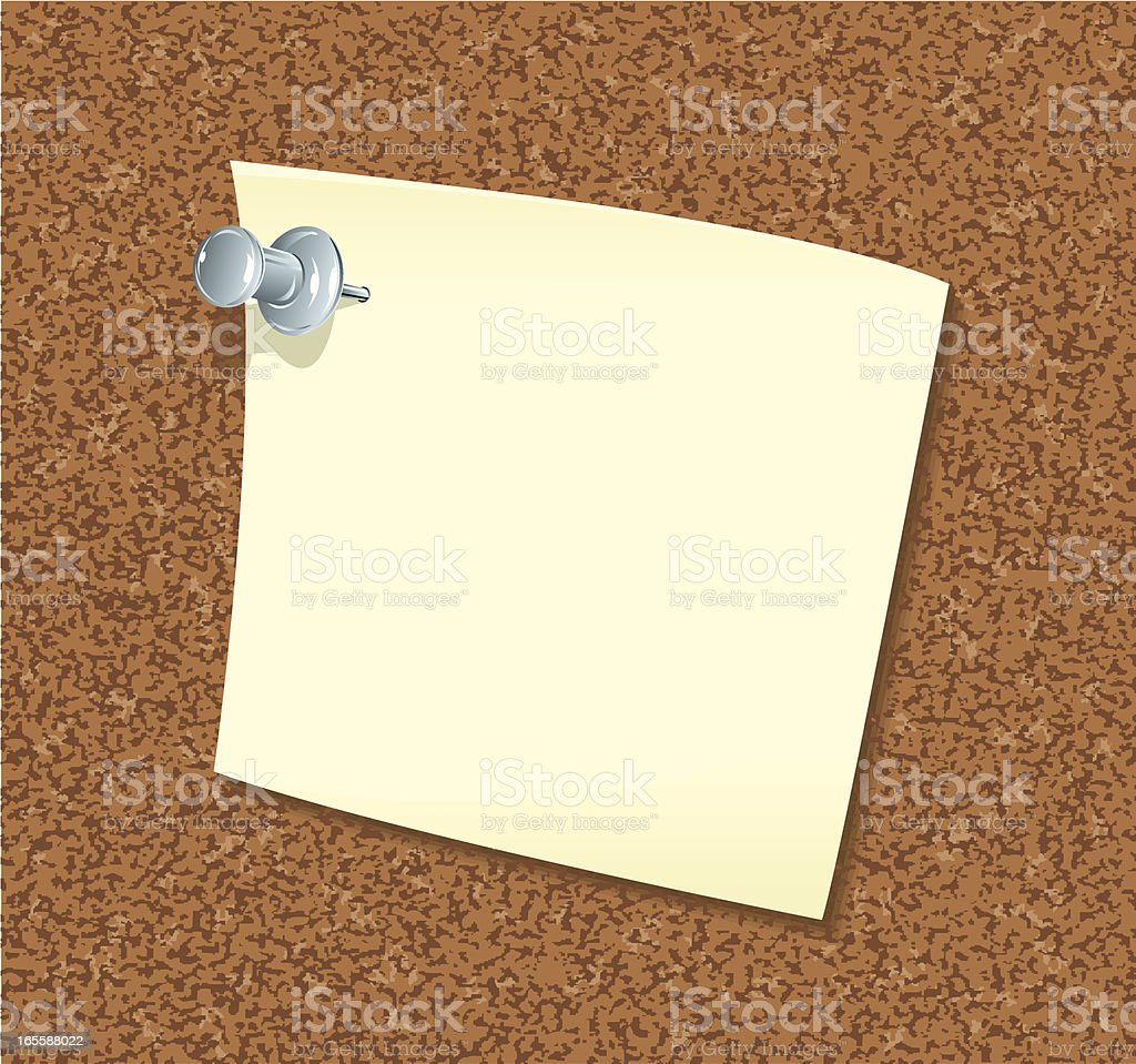 Note with Thumb Tack on Cork Board royalty-free stock vector art