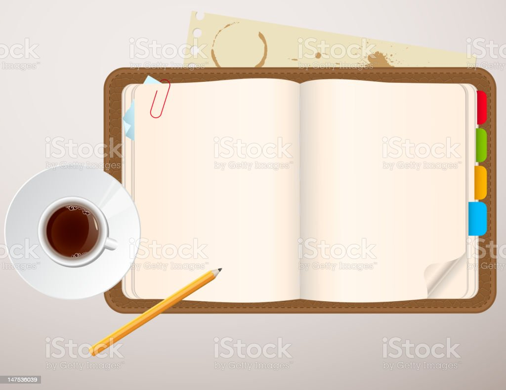 notebook and a cup of coffee royalty-free stock vector art