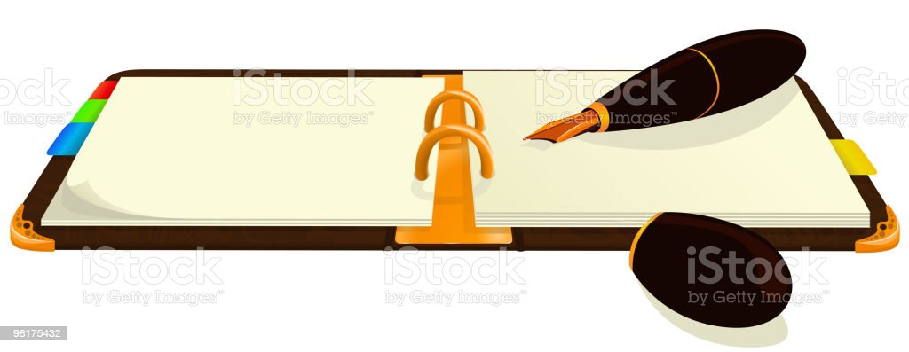 notebook and ink pen royalty-free notebook and ink pen stock vector art & more images of book