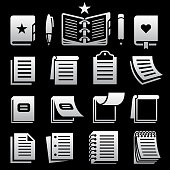 Notebook and Paper black knockout royalty free vector icon set