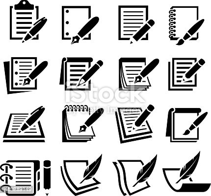 Notebook and Pen black and white royalty free vector interface icon set. This editable vector file features black interface icons on white Background. The interface icons are organized in rows and can be used as app interface icons, online as internet web buttons, and in digital and print.