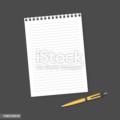 Notebook and Pen. Blank realistic mockup spiral notepad notebook and pen