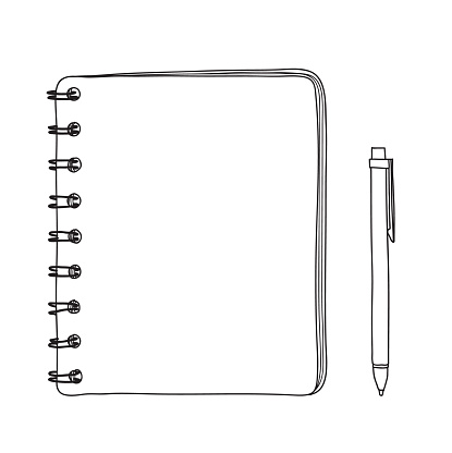 notebook and  pen hand drawn vector line art illustration