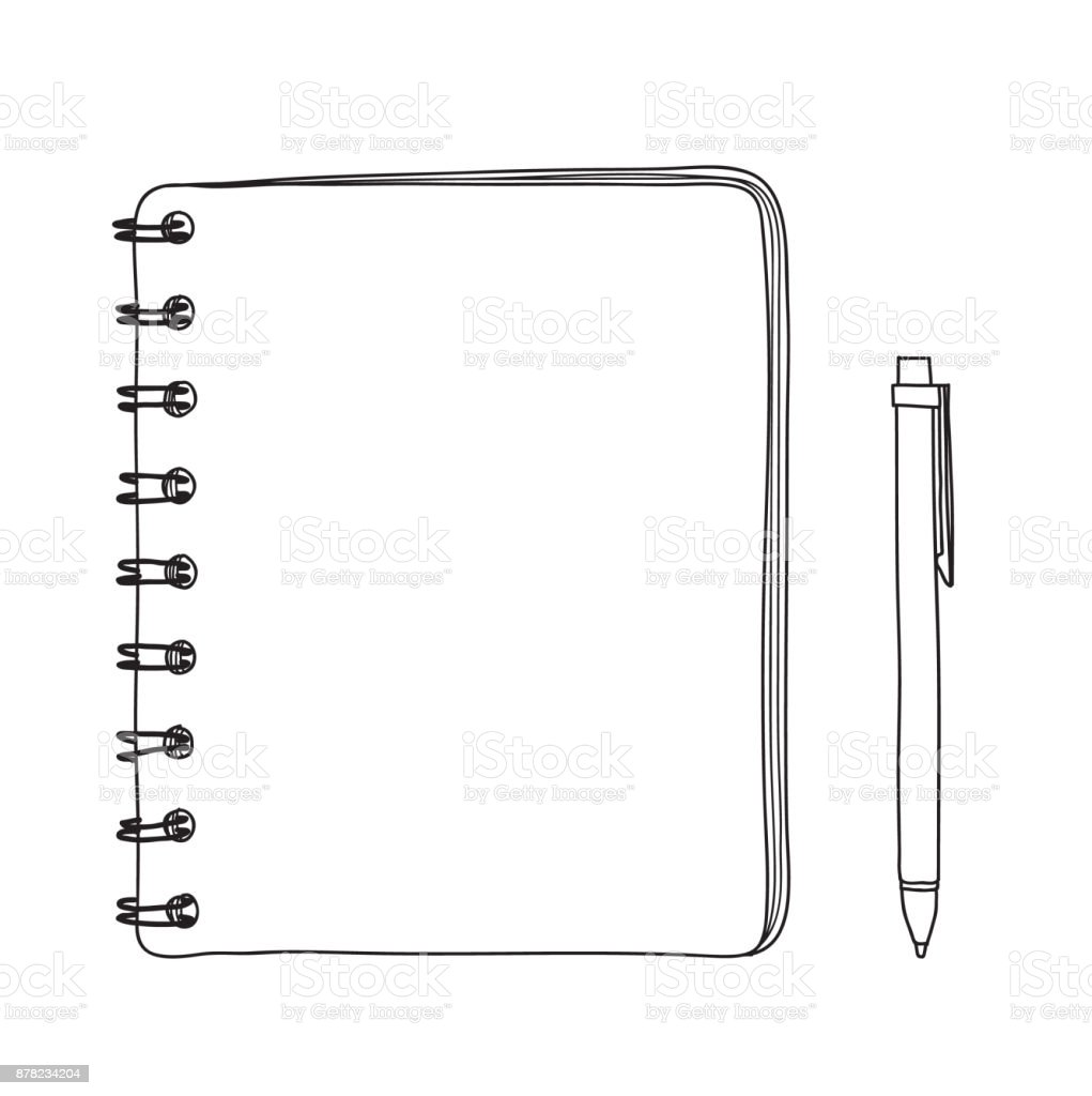 notebook and  pen hand drawn vector line art illustration vector art illustration