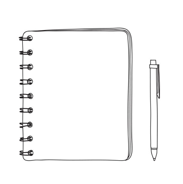 notebook and  pen hand drawn vector line art illustration notebook and  pen hand drawn vector line art illustration diary stock illustrations