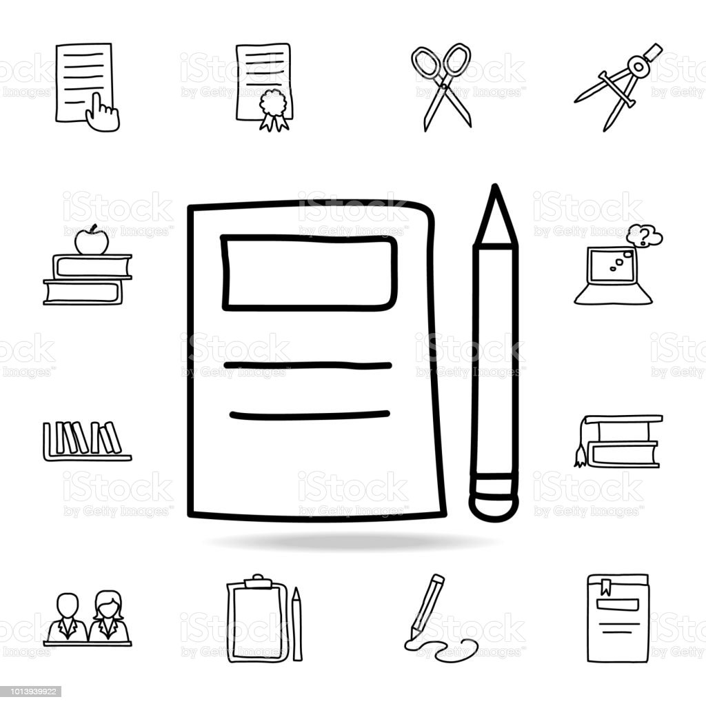 Notebook and pencil sketch icon element of education icon for mobile concept and web apps