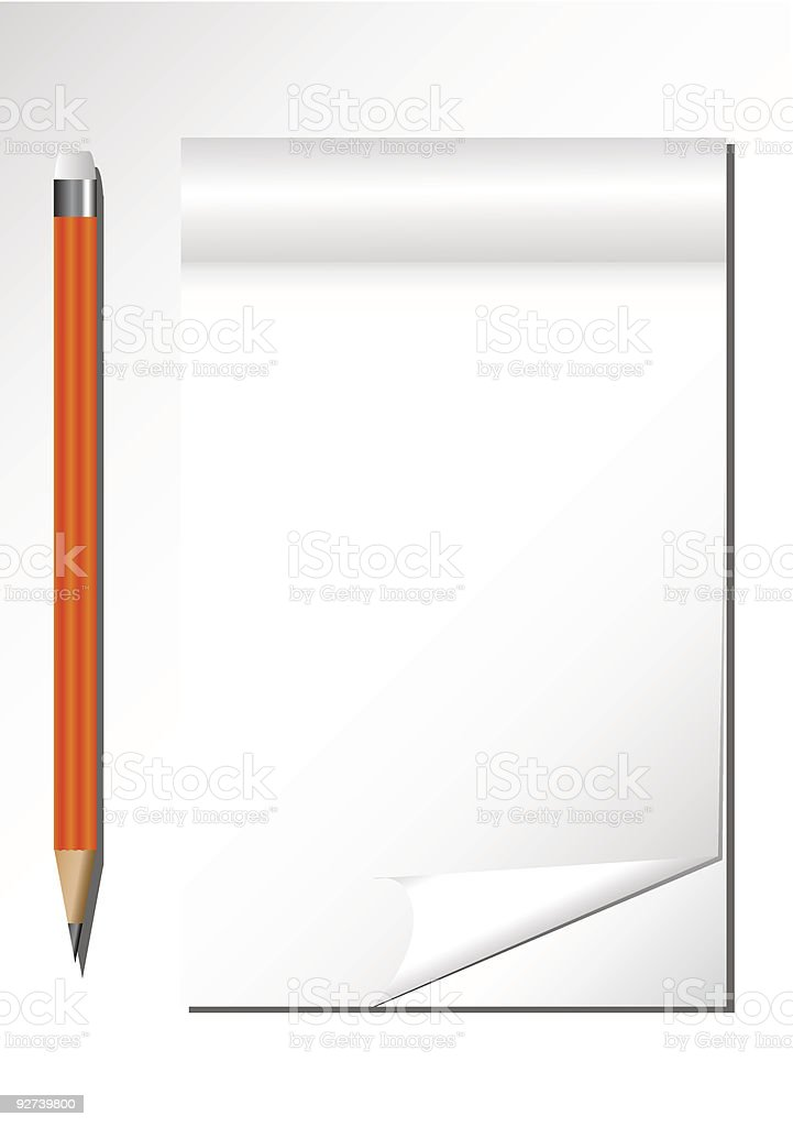 Notebook and Pencil royalty-free stock vector art
