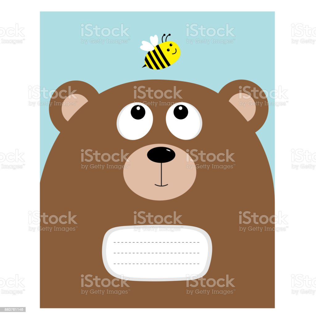 Composition Book Cover Background ~ Notebook cover composition book template bear grizzly big head