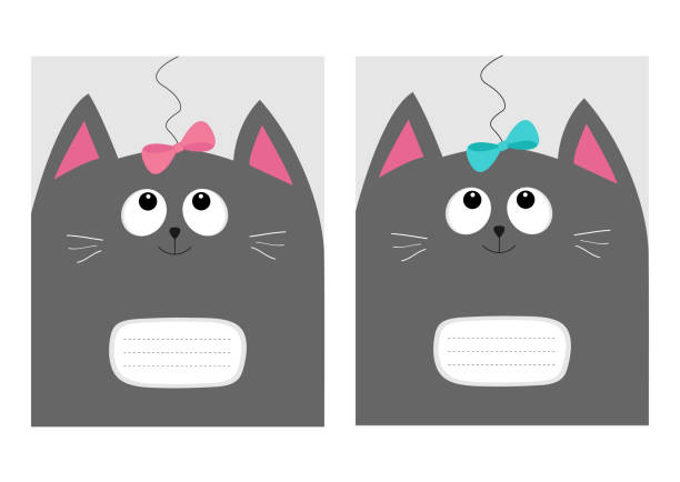 Notebook Cover Composition Book Template Gray Cat Kitty Head Looking At Pink Blue Bow