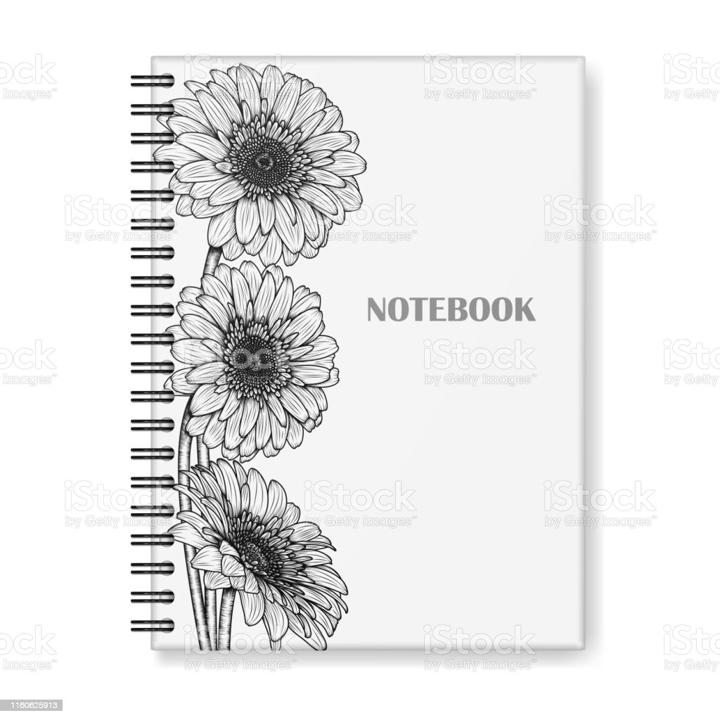 Notebook Cover Design With Handdrawn Gerbera Flowers Stock