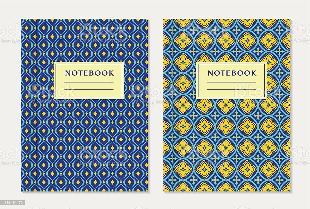 Notebook cover designs. Vector set. vector art illustration