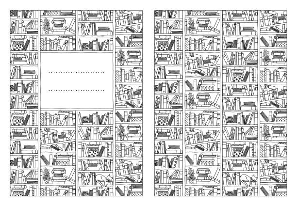 Notebook cover template Book cover template for booklets or notebooks, with hand drawn bookshelf in black and white book patterns stock illustrations