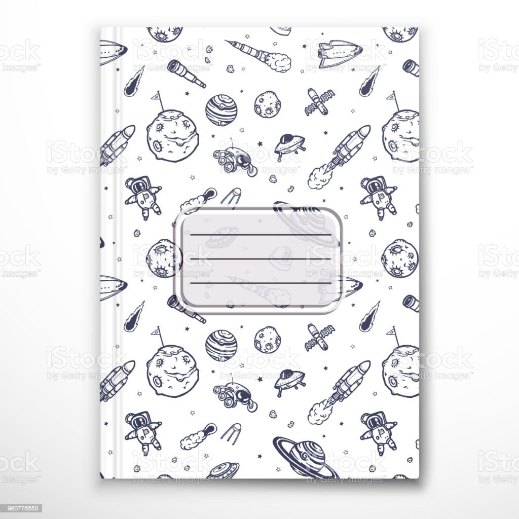 Notebook Cover Template Stock Vector Art More Images Of Asteroid