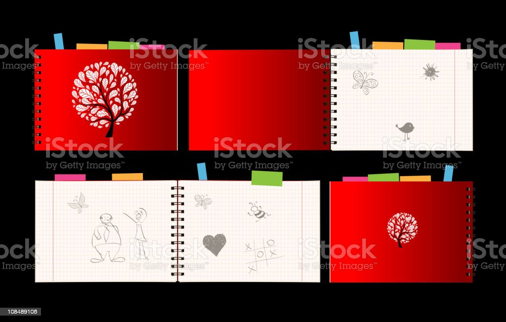 Notebook design, cover and open pages royalty-free notebook design cover and open pages stock vector art & more images of art