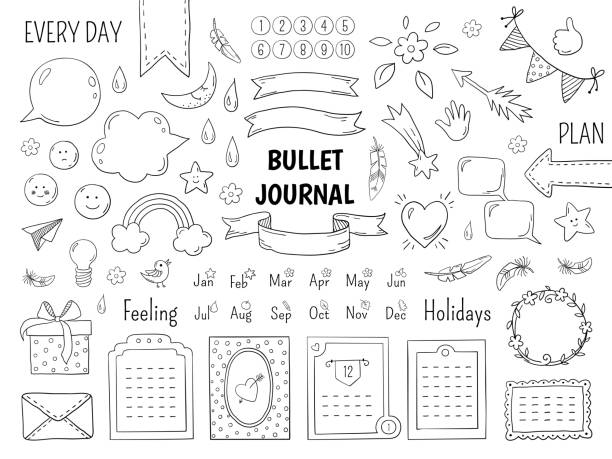 Notebook doodle bullet. Hand drawn diary frame, journal linear list borders and elements. Vector sketch doodle planner Notebook doodle bullet. Hand drawn diary frame, journal linear list borders and elements. Vector sketch doodle elements planner notes design scribbles diary stock illustrations