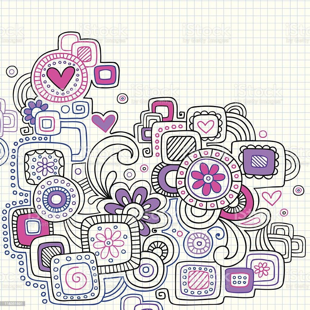 Notebook Doodles on Graph Paper Vector vector art illustration