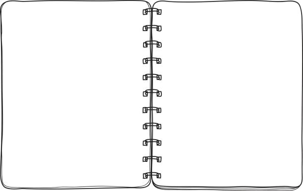 notebook hand drawn on white  background blank paper cover line art vector illustration - lined paper stock illustrations