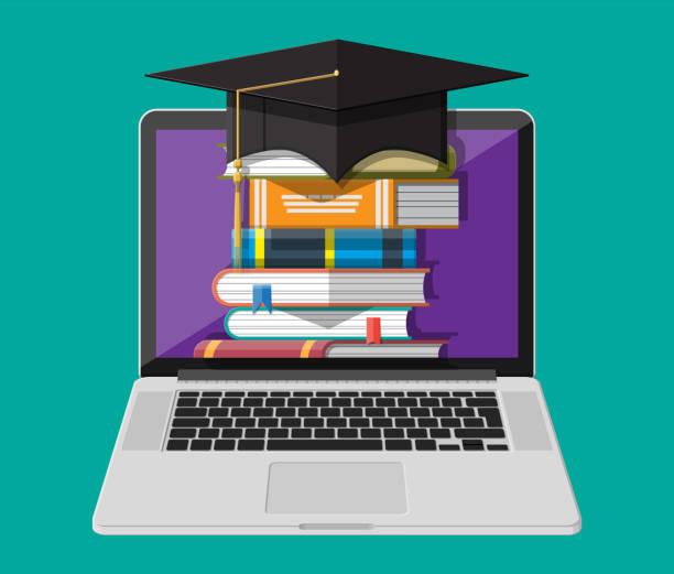 Notizbuch, Hut und Stapel von Buch. Online-Bildung – Vektorgrafik