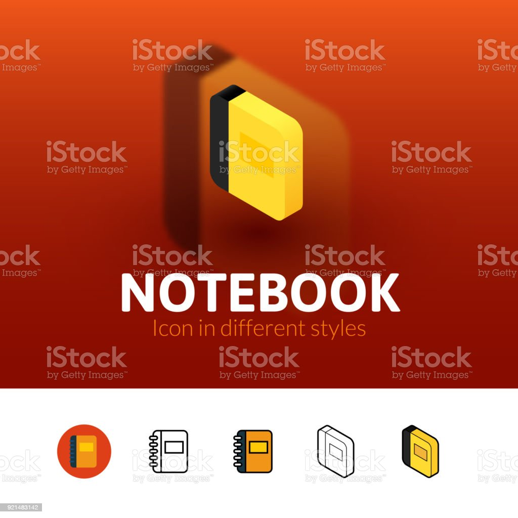 Notebook icon in different style vector art illustration