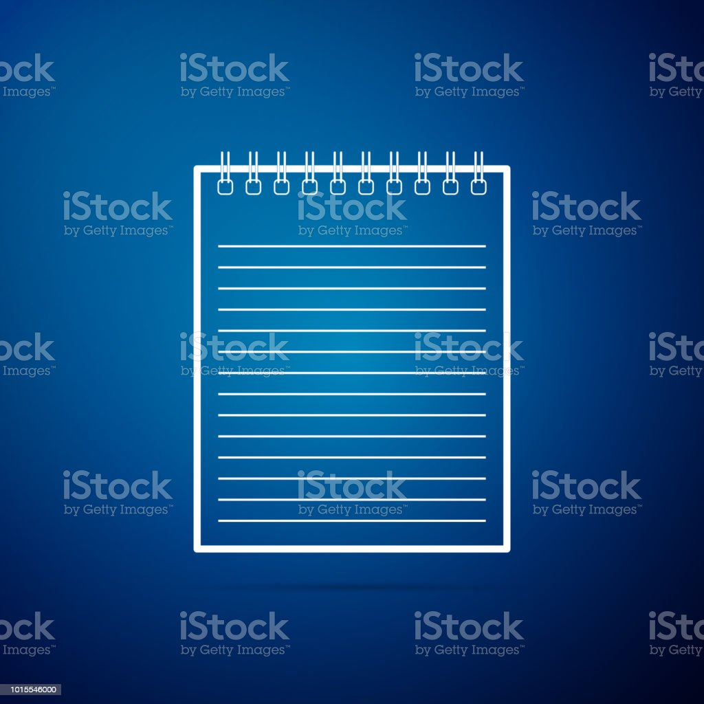 Notebook Icon Isolated On Blue Background Spiral Notepad Icon School  Notebook Writing Pad Diary For Business Notebook Cover Design Flat Design  Vector