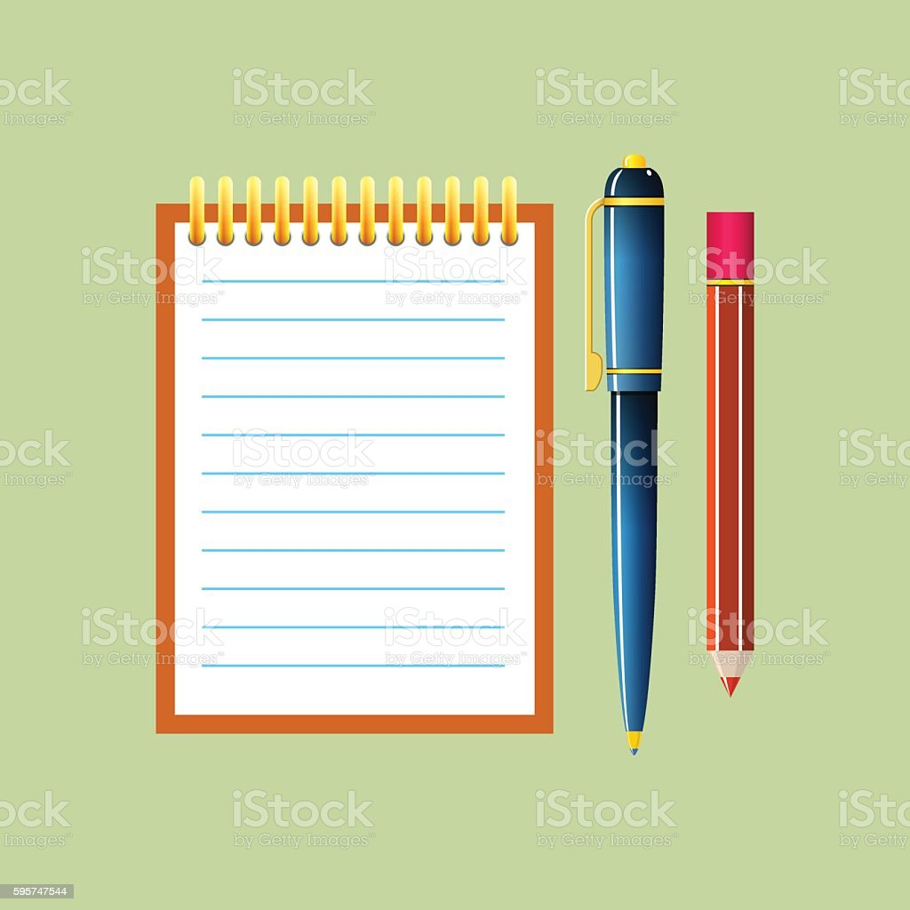 Notebook Isolated on Green Background vector art illustration