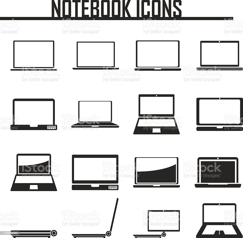 Notebook, Laptop Computers icons. vector illustration eps 10. vector art illustration