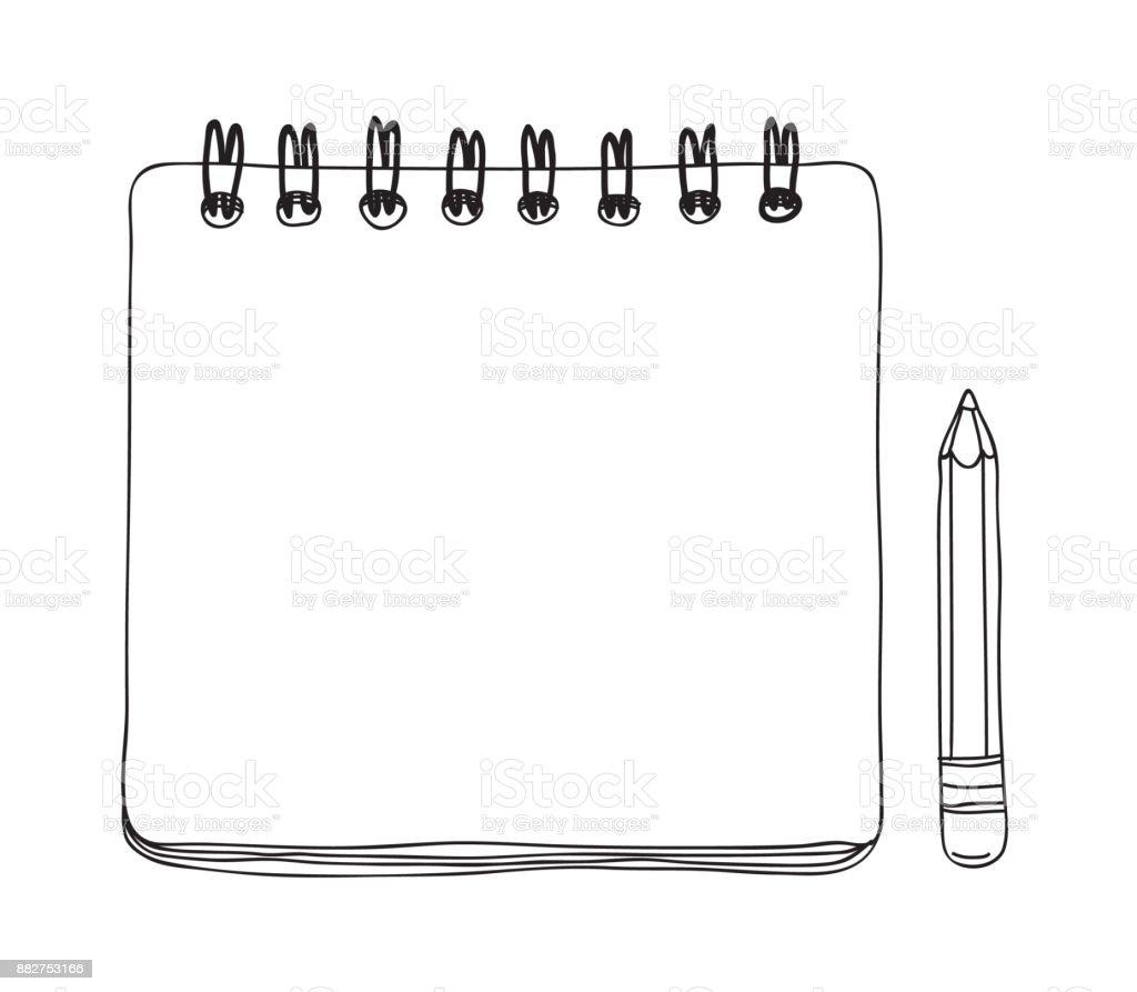 ノートブックのミニと鉛筆手描きかわいいベクター ライン アート