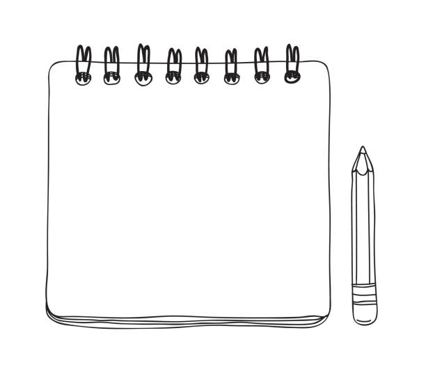 notebook mini and  pencil hand drawn cute vector line art illustration - notes stock illustrations