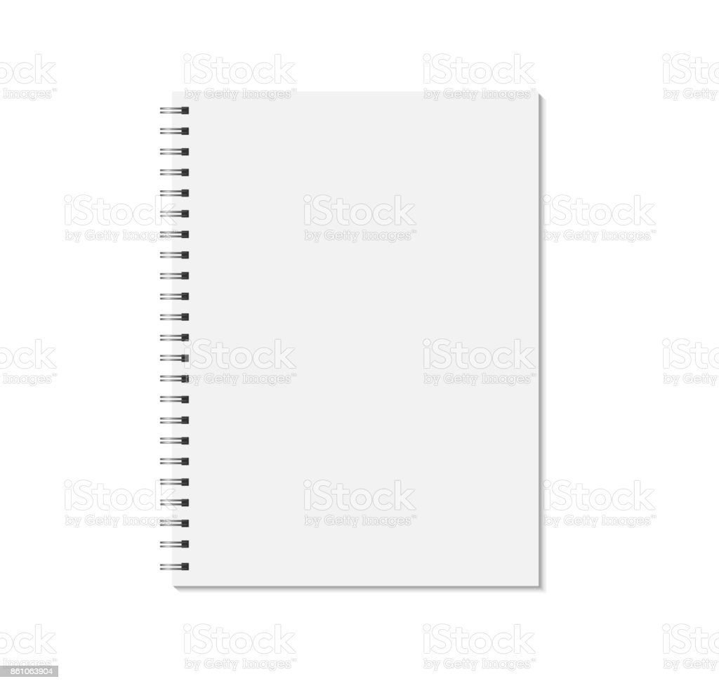 Notebook mock up isolated on white background. Blank pages, copybook with metal spiral template. vector art illustration