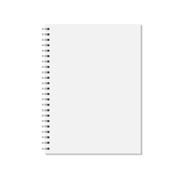 notebook mock up isolated on white background. blank pages, copybook with metal spiral template. - notatka stock illustrations