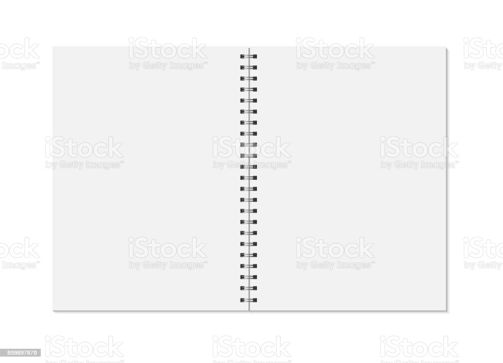 Notebook mock up isolated on white background. Clean pages, copybook with metal spiral template. vector art illustration