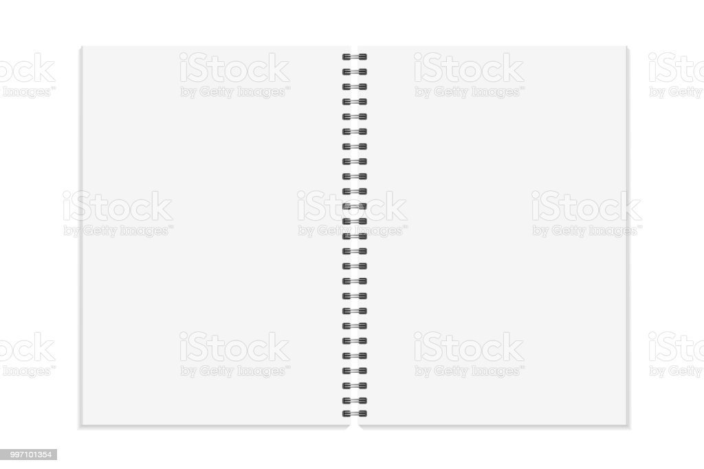 notebook mock up open book with metal spiral template isolated on