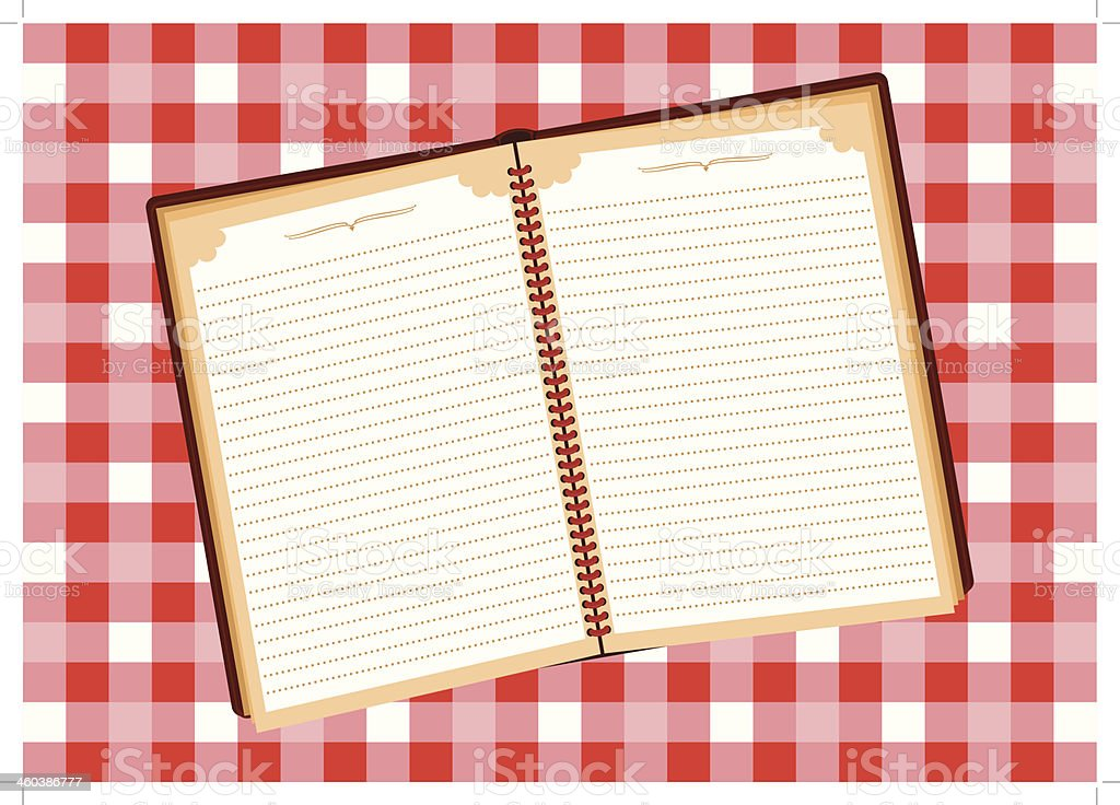 Notebook on checkered tablecloth [Converted] vector art illustration