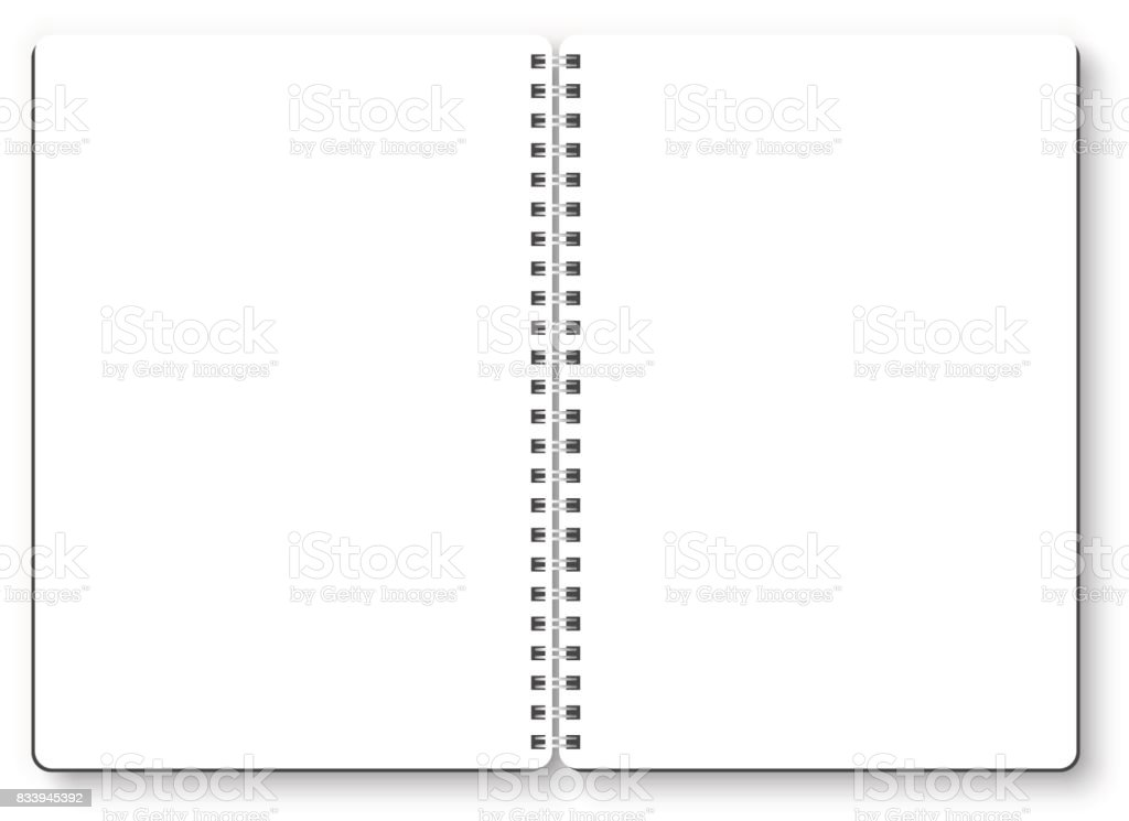 Notebook open vector isolated on white background. Empty white page, top view, from above. vector art illustration