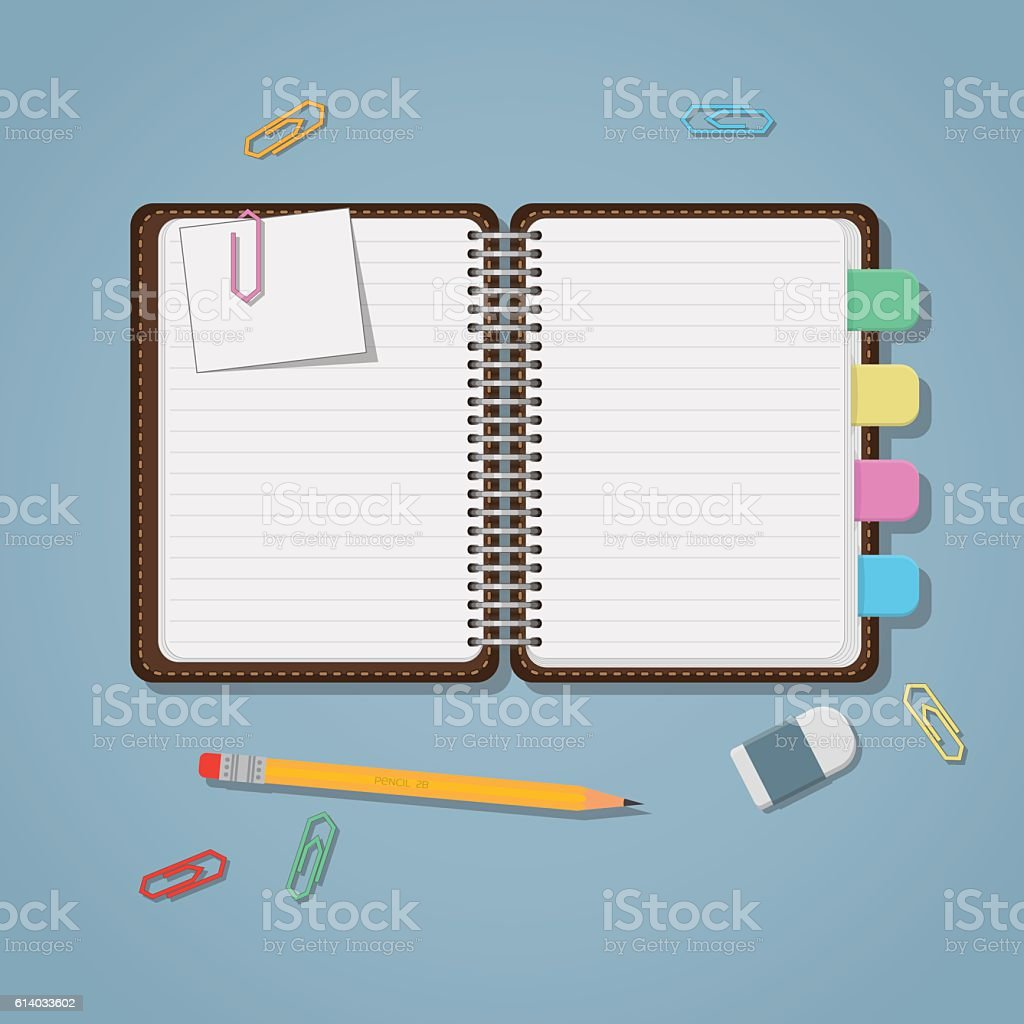 Notebook Open With Bookmarks vector art illustration