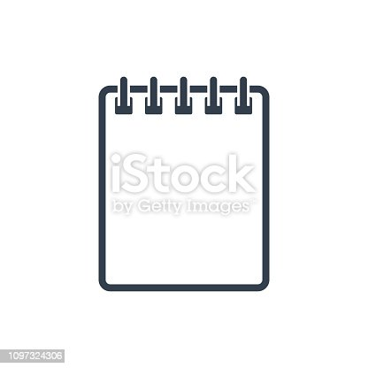 Notebook Outline Icon. Vector isolated illustration in flat style. Note book silhouette.