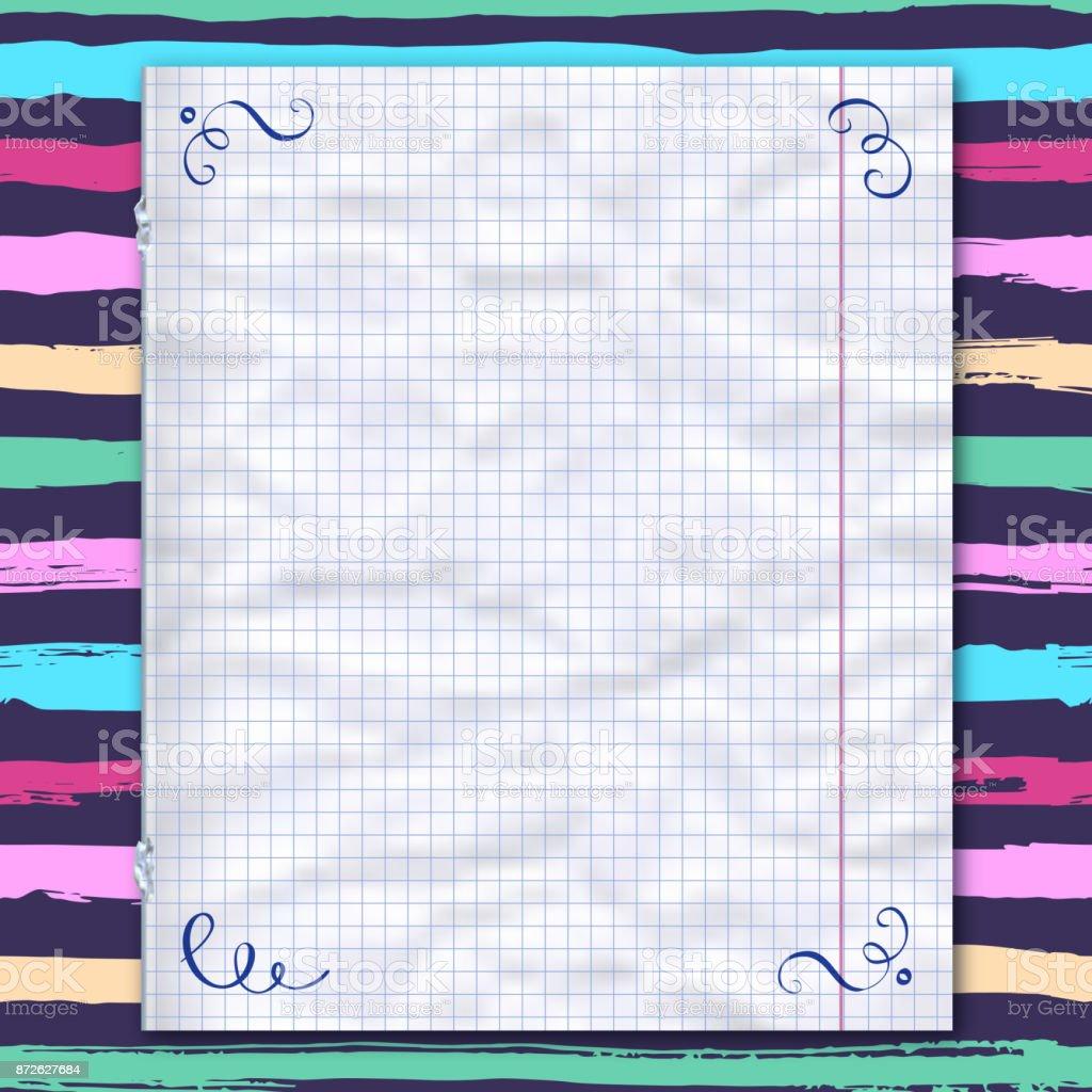 Página De Cuaderno Forrado De Papel A Rayas Plantilla De Diseño ...