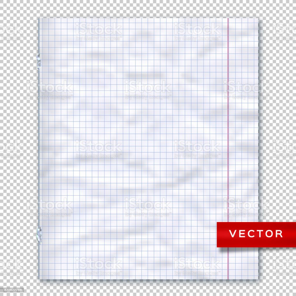 Notebook Page, Lined Paper Transparent Background. Design Template, Vector  Mockup Royalty Free  Lined Paper Word