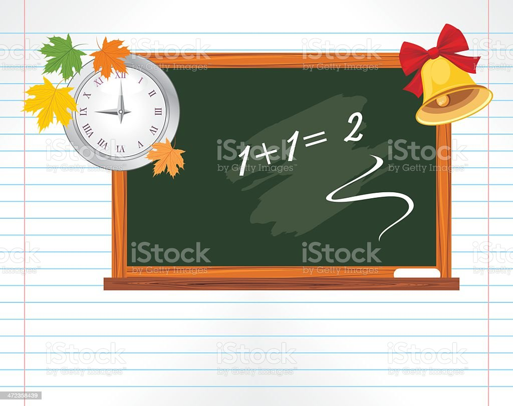 Notebook page with chalkboard, watch and school bell royalty-free stock vector art