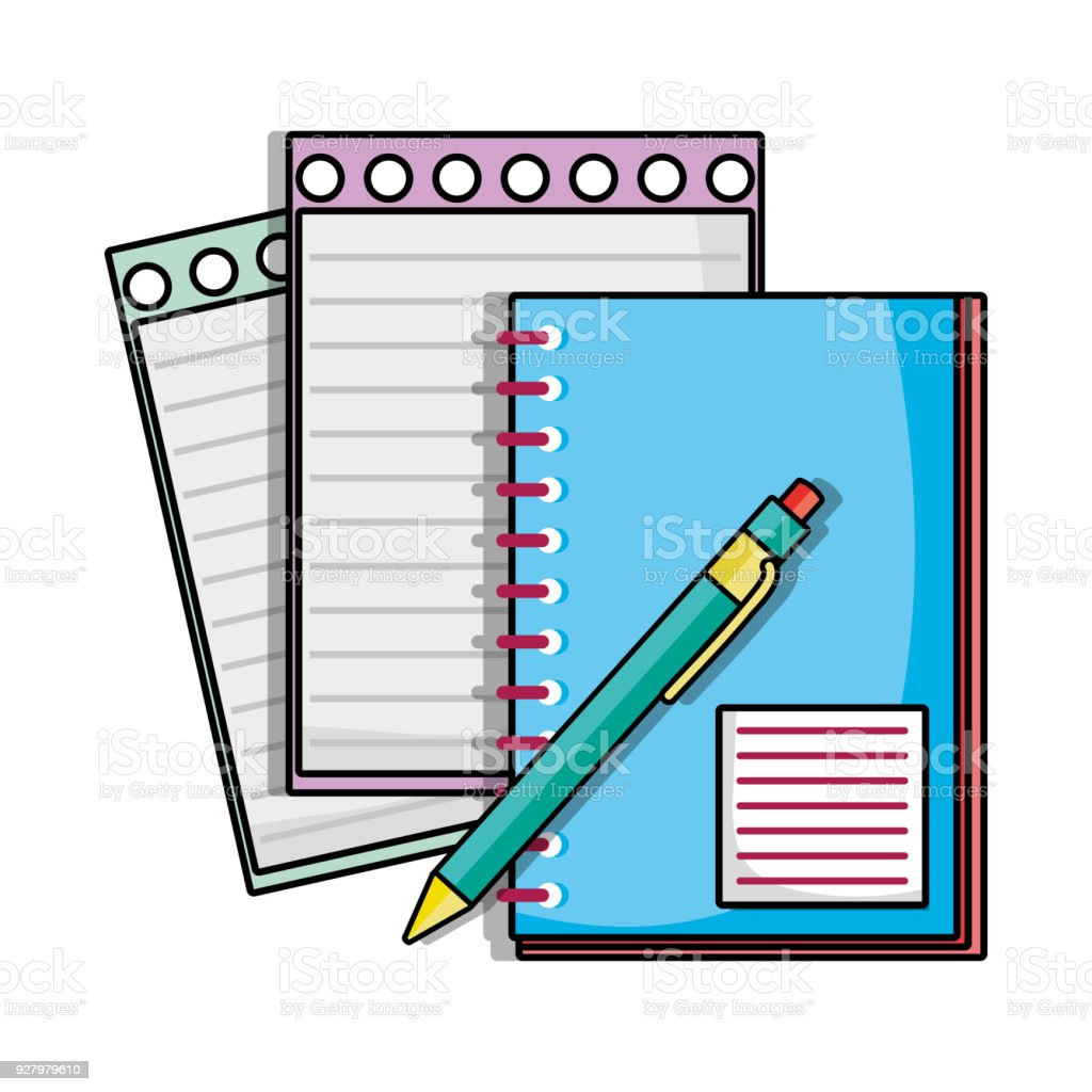 Notebook papaers with pen school utensils stock vector art more notebook papaers with pen school utensils royalty free notebook papaers with pen school utensils stock voltagebd Images