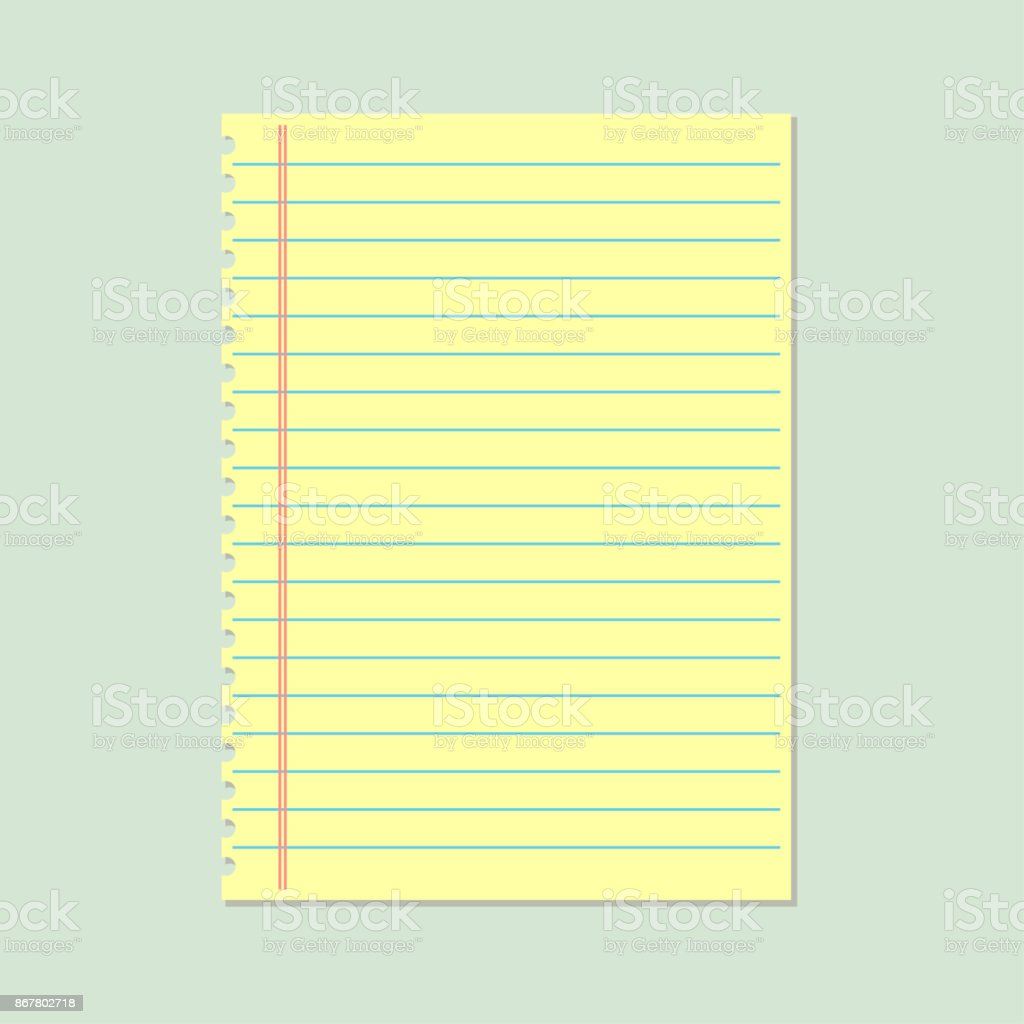 Notebook Paper Background Yellow Lined Paper Stock Vector Art More