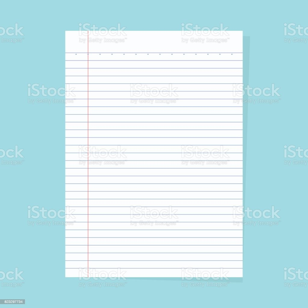 Notebook paper isolated on a blue background vector art illustration